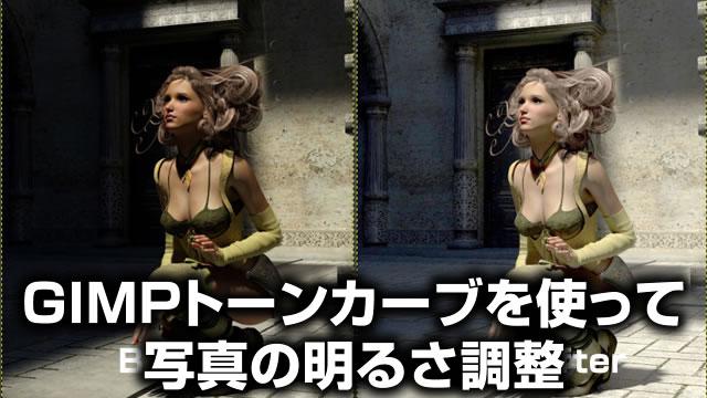 GIMPトーンカーブを使って 写真の明るさ調整