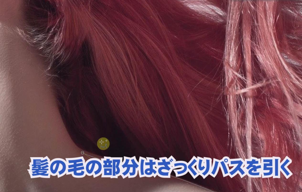 髪の毛の部分はざっくり