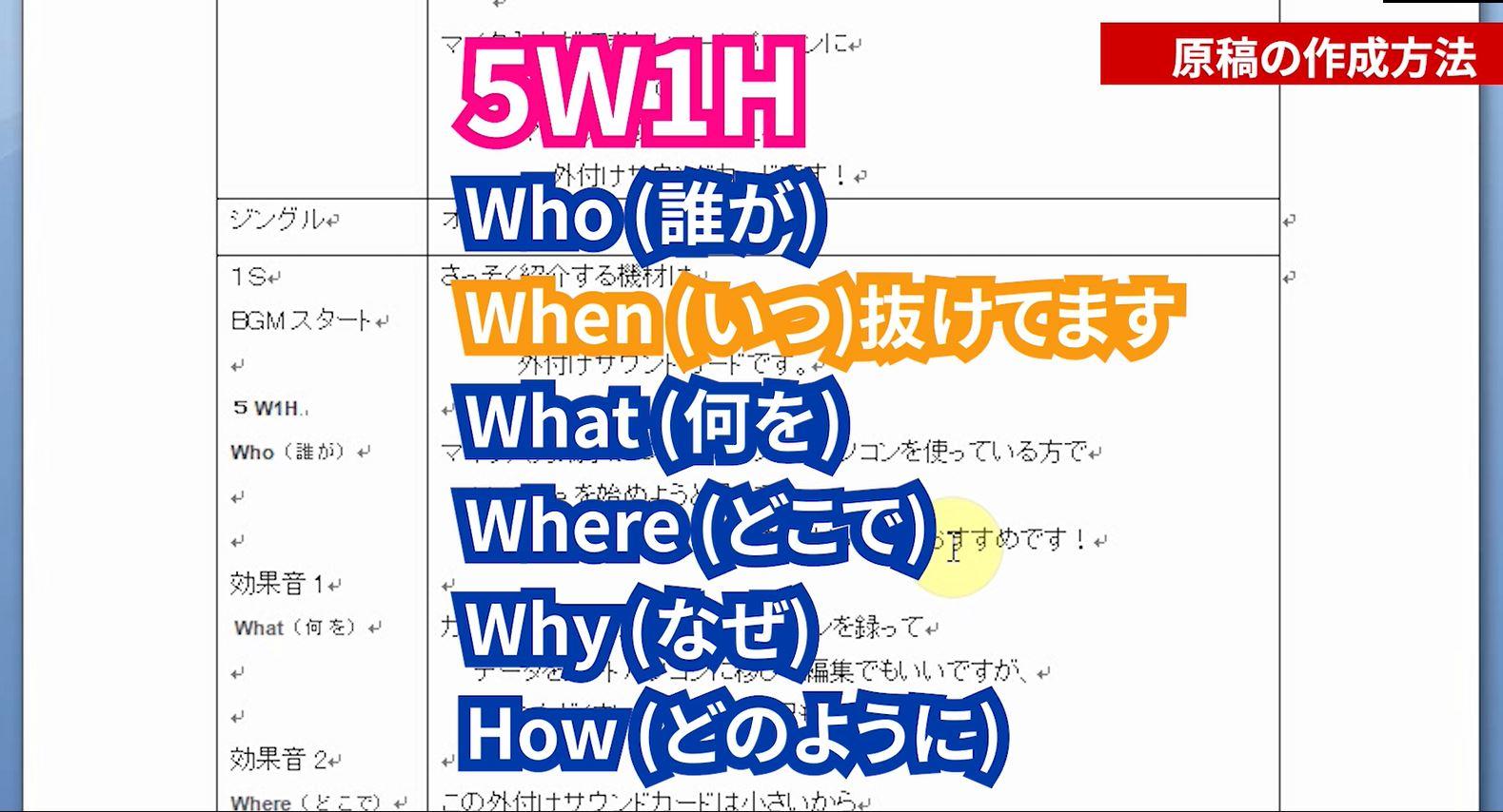 原稿の構成5W1H